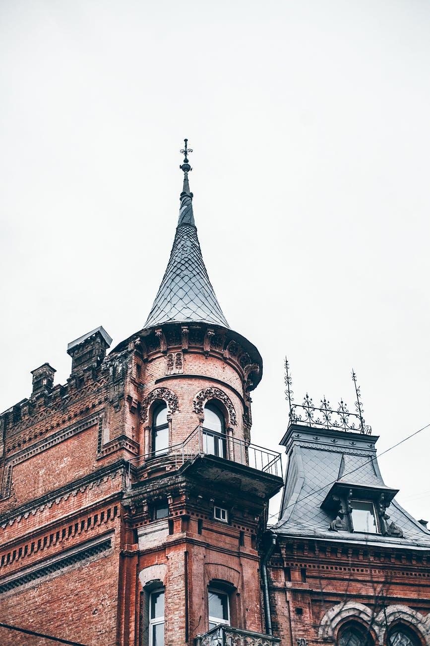 ornamental old caste against overcast sky