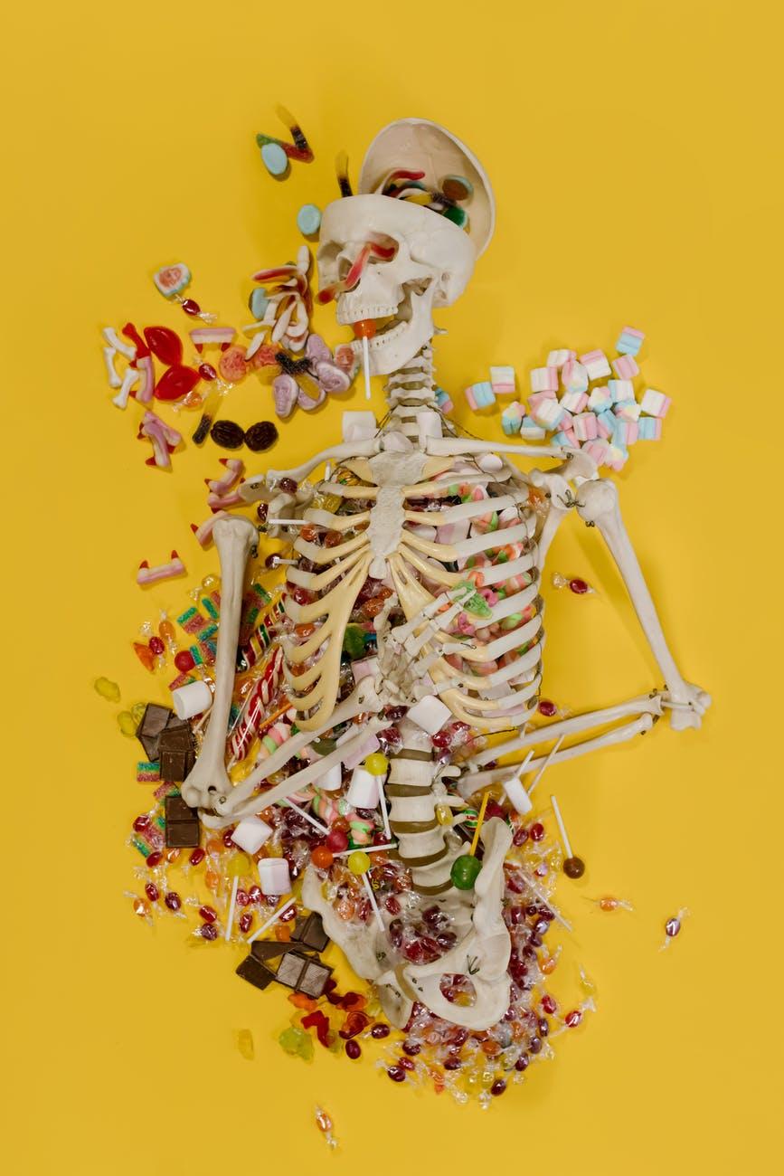 skeleton full of candy